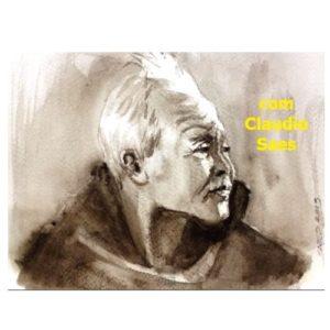 Aquarela Retrato Mono Claudio Saes