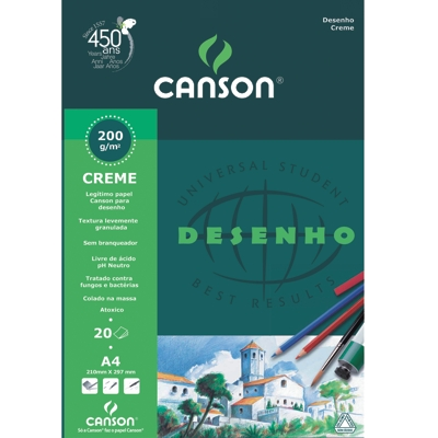 Papel Para Desenho Canson 200 A4 Creme