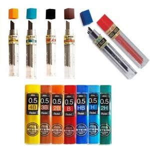 grafite-pentel-ain-stein-05mm-07mm-03mm-hb-h-2b-3b-4b-09mm
