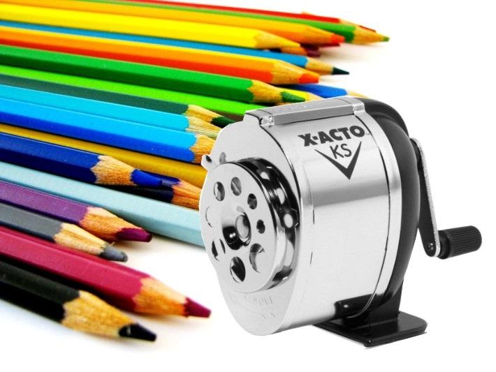 apontador de lápis com manivela x acto barato preço comprar