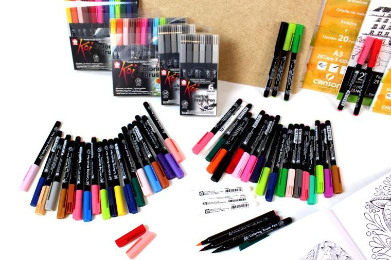 caneta ponta de pincel koi sakura brush