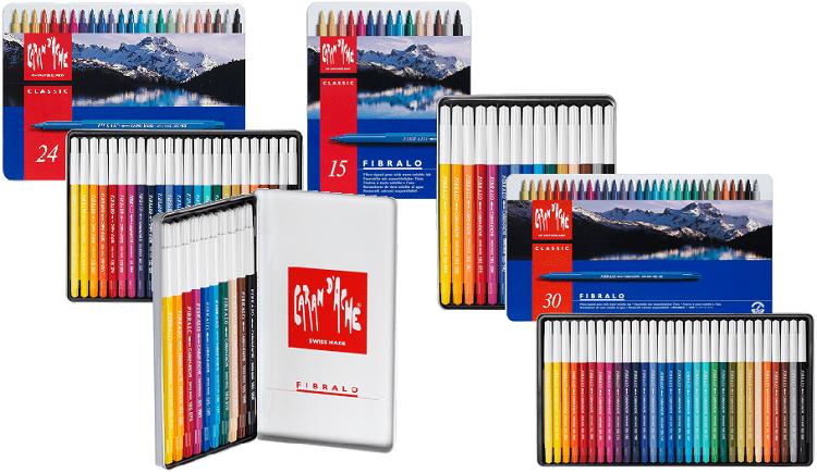 caneta aquarelavel caran d ache fibralo 24 15 10 30 cores