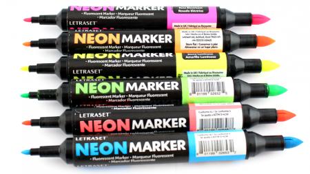 marcador neon marker letraset ponta dupla